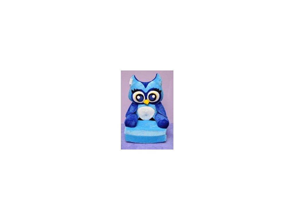 Dětské plyšové rozkládací křesílko - Modrá sova