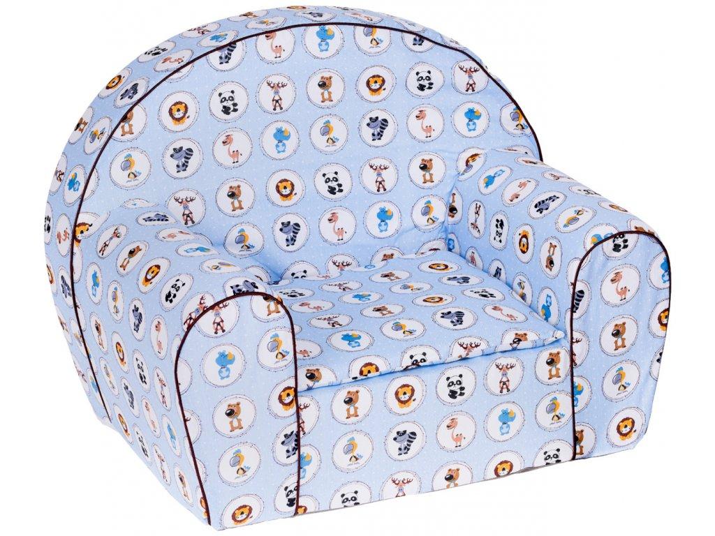 Dětské molitanové křesílko zvířátka modré