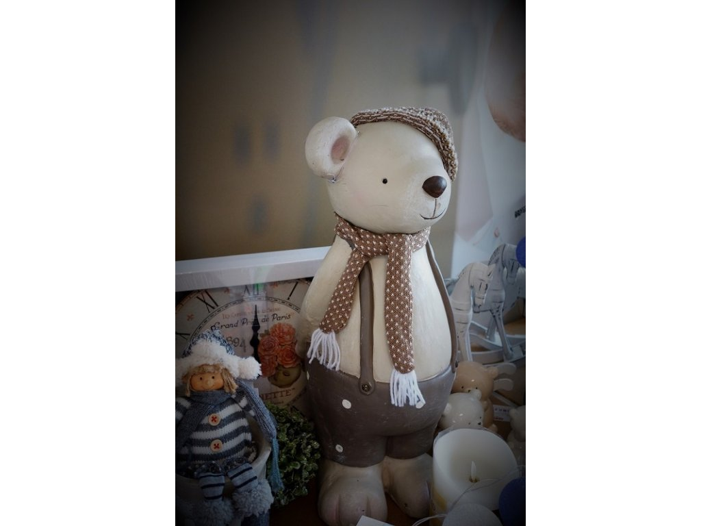 vánoční dekorace keramický medvídek