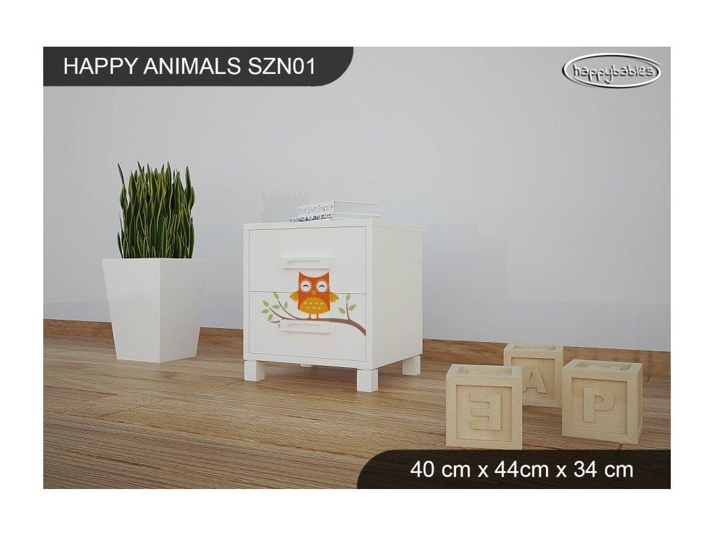 Noční stolek Animals se vzorem