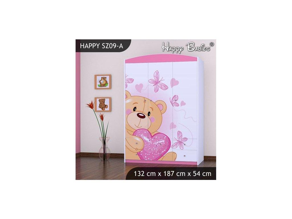 Dětská skříň s obrázkem Kevin SZ09-A - vzor 07 RŮŽOVÁ