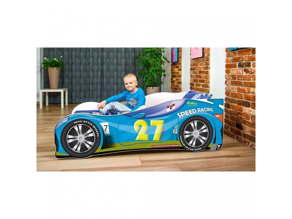 Dětská autopostel sportovní auto 27 modra + matrace zdarma