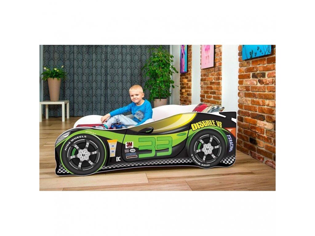 Dětská autopostel sportovní auto černo zelené 33 + matrace zdarma