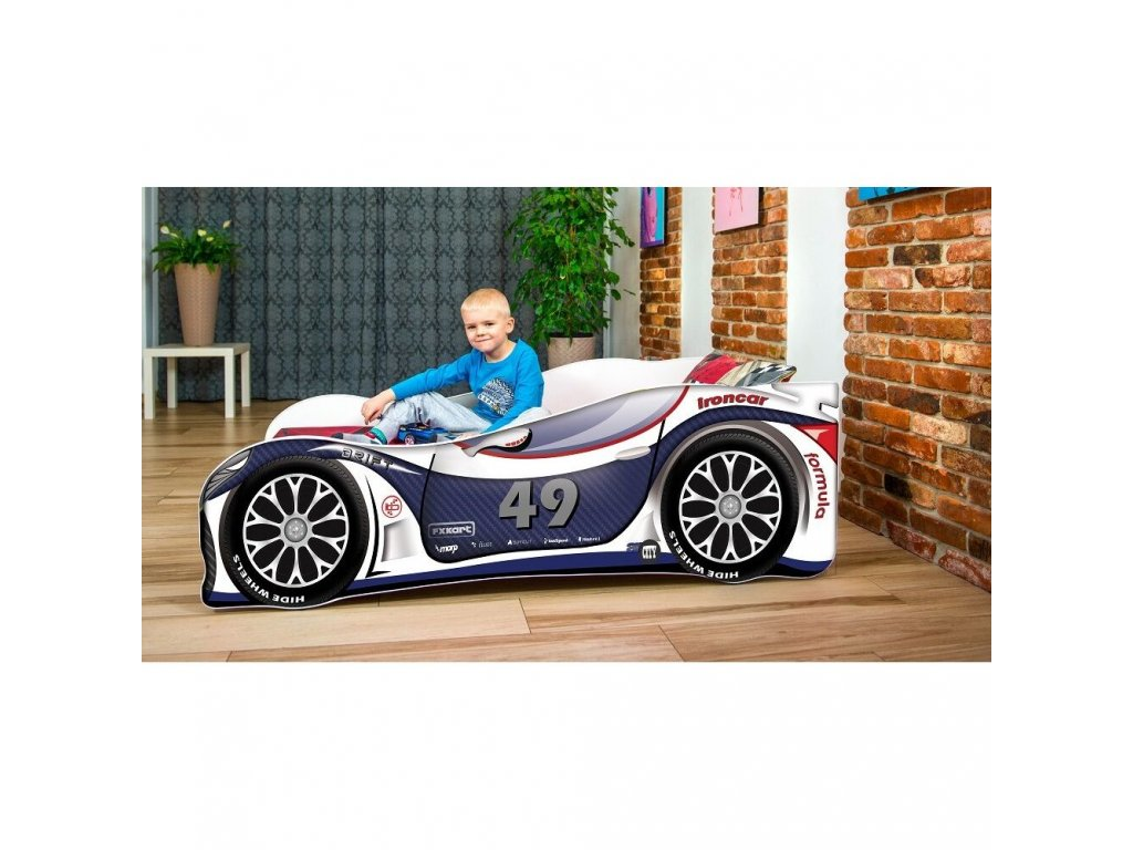 Dětská autopostel sportovní auto modré/bílé 49 + matrace zdarma