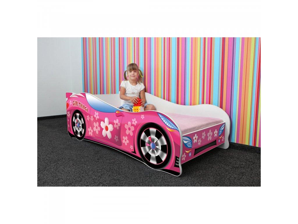 Dětská autopostel auto pro holky růžové + MATRACE ZDARMA