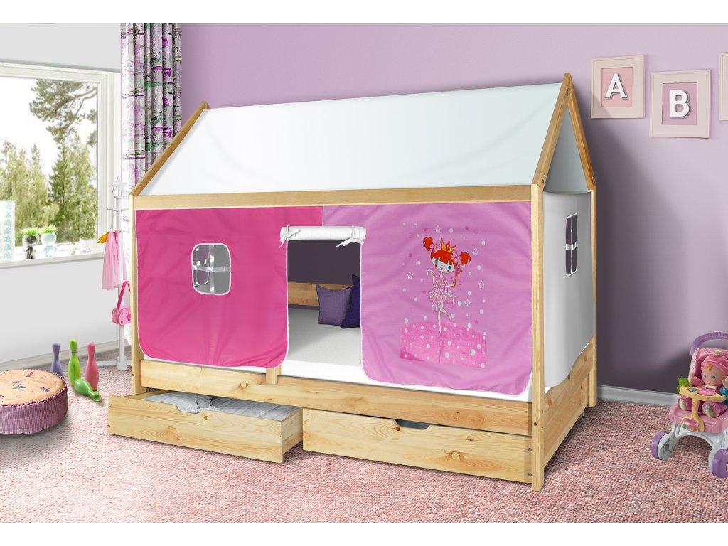 Dětská domečková postel Mike přírodní 200 x 90 cm + domeček princezna růžová a stříška