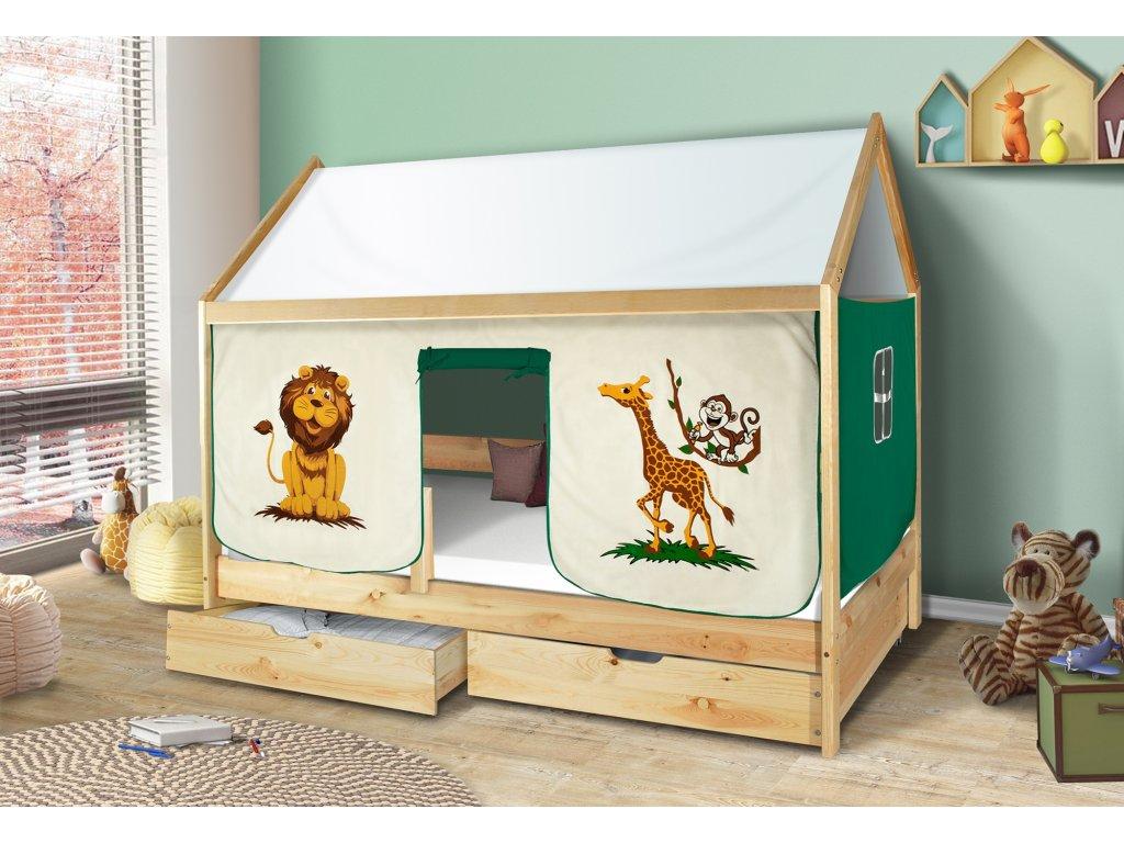 Dětská domečková postel zoo safari