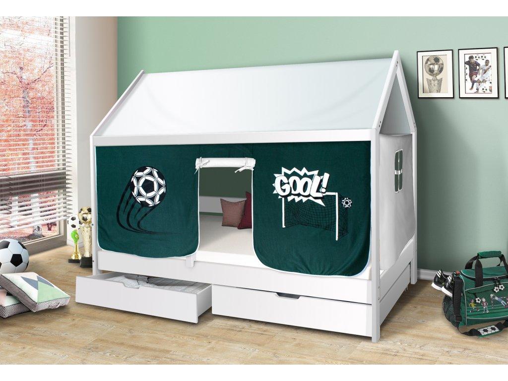 Dětská domečková postel Mike BÍLÁ 200 x 90 cm + domeček fotbal a stříška