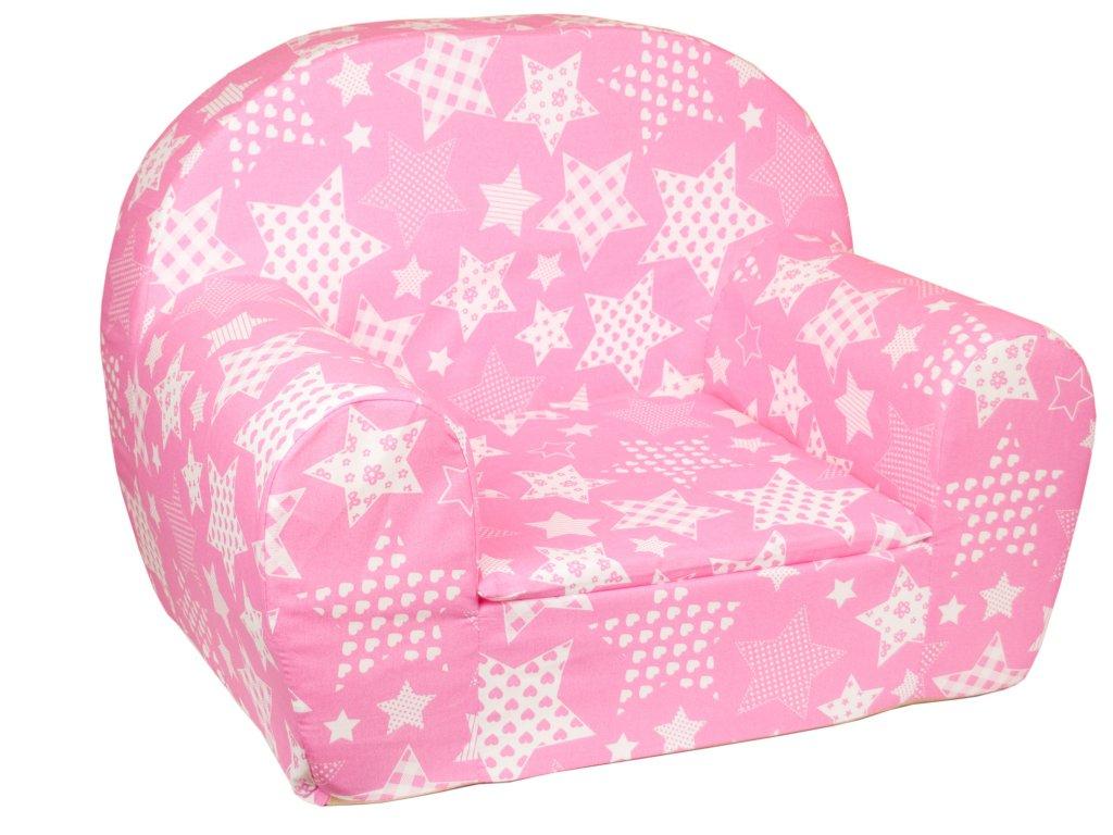 molitanová křesílko růžové bílé hvězdy