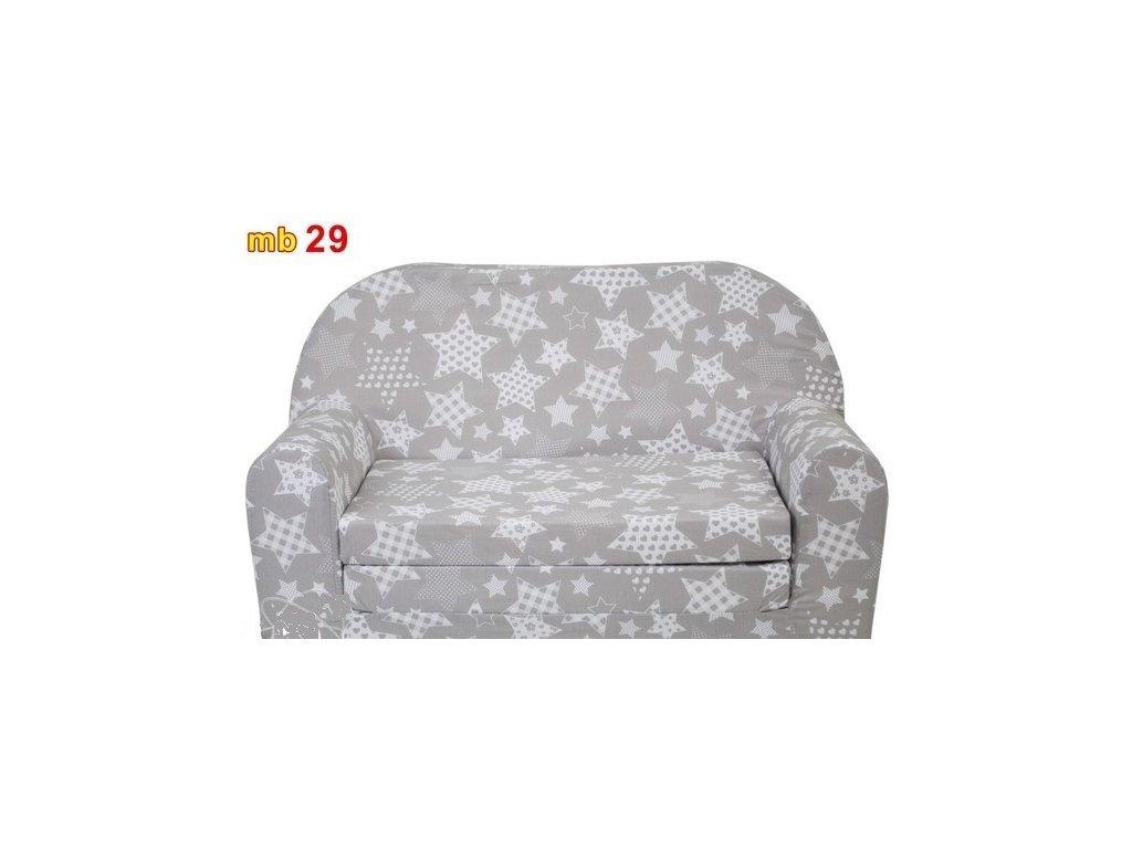 molitanová sedačka šedá bílé hvězdy