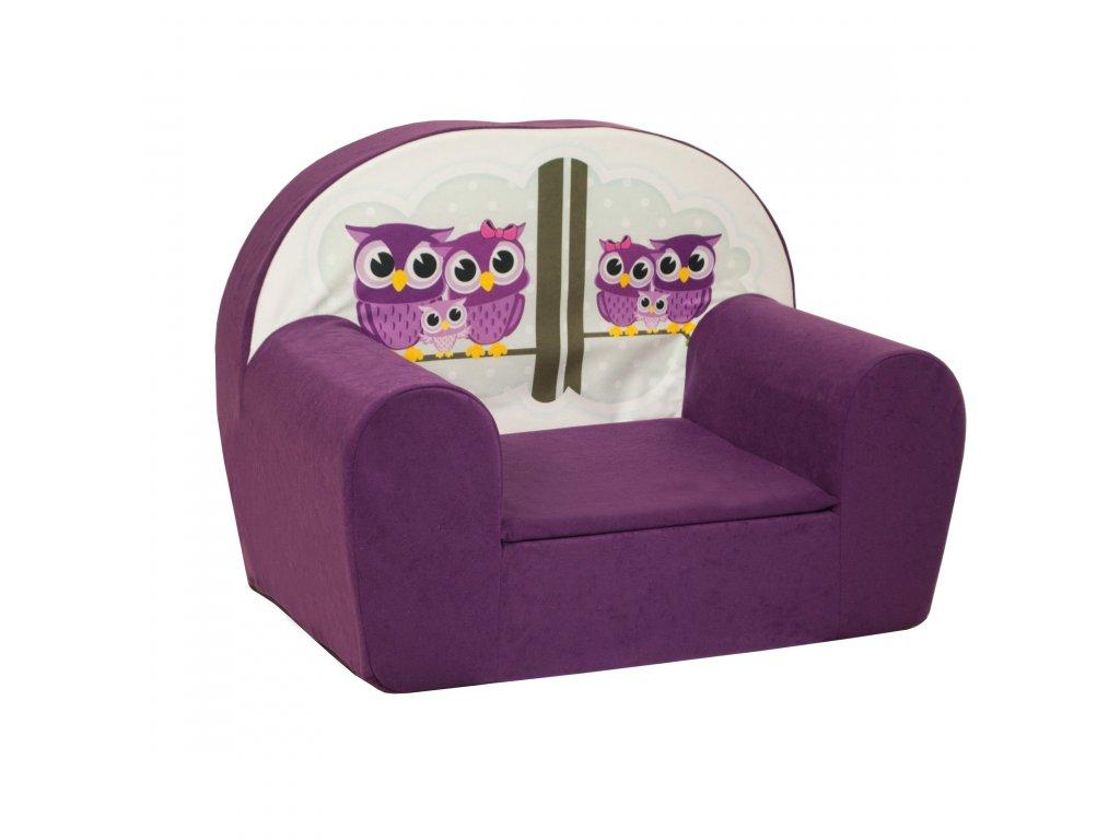 molitanové dětské křesílko fialové sovičky