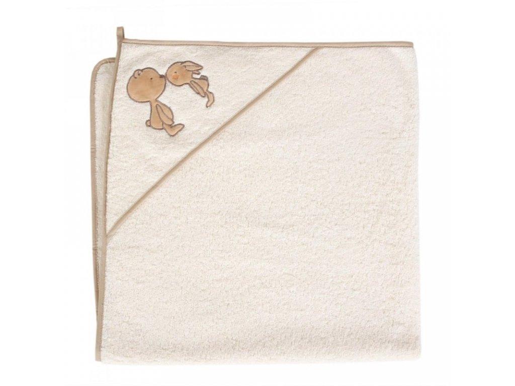 Dětská osuška s kapucí medvídek béžová