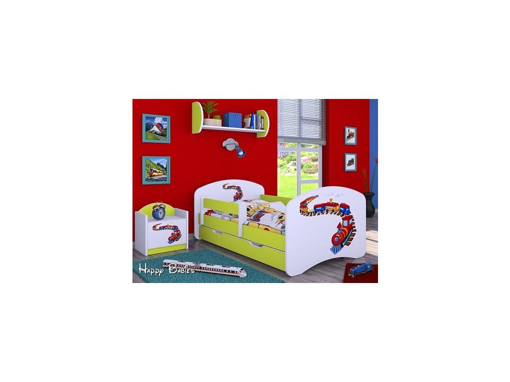 dětská postel s obrázkem mašinka