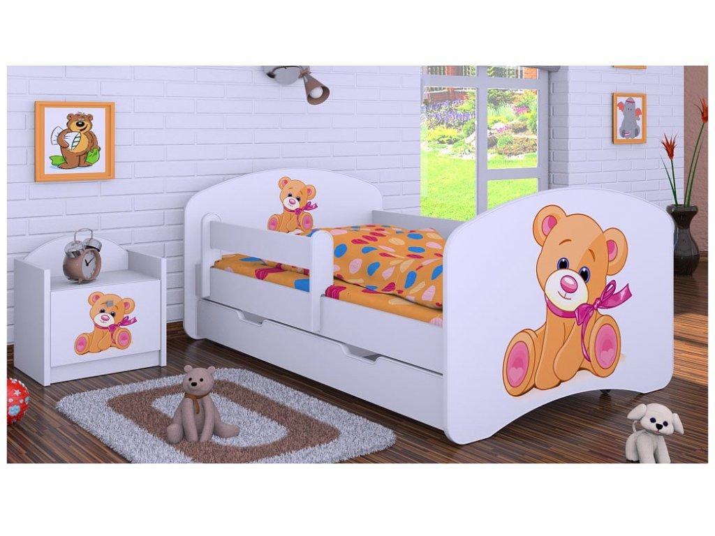 Dětská postel s úložným prostorem medvídek s mašlí 160 x 80 cm bílá