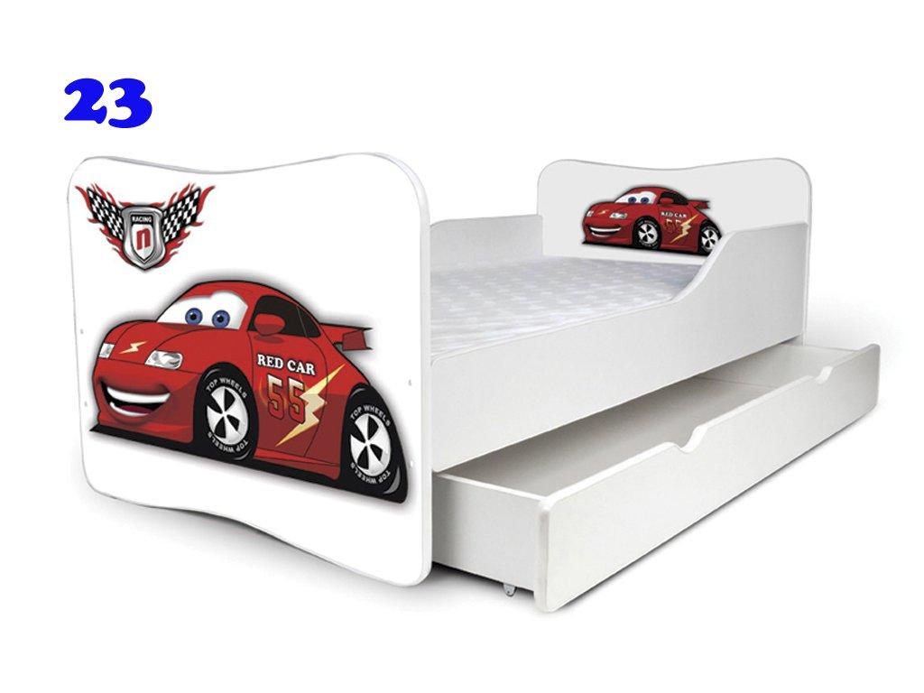 Dětská postel RED CAR 180x80 cm + matrace zdarma