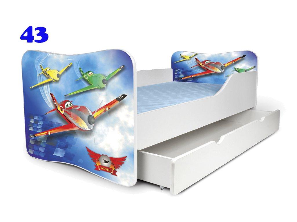 Dětská postel LETADLA 160x80 cm, matrace zdarma