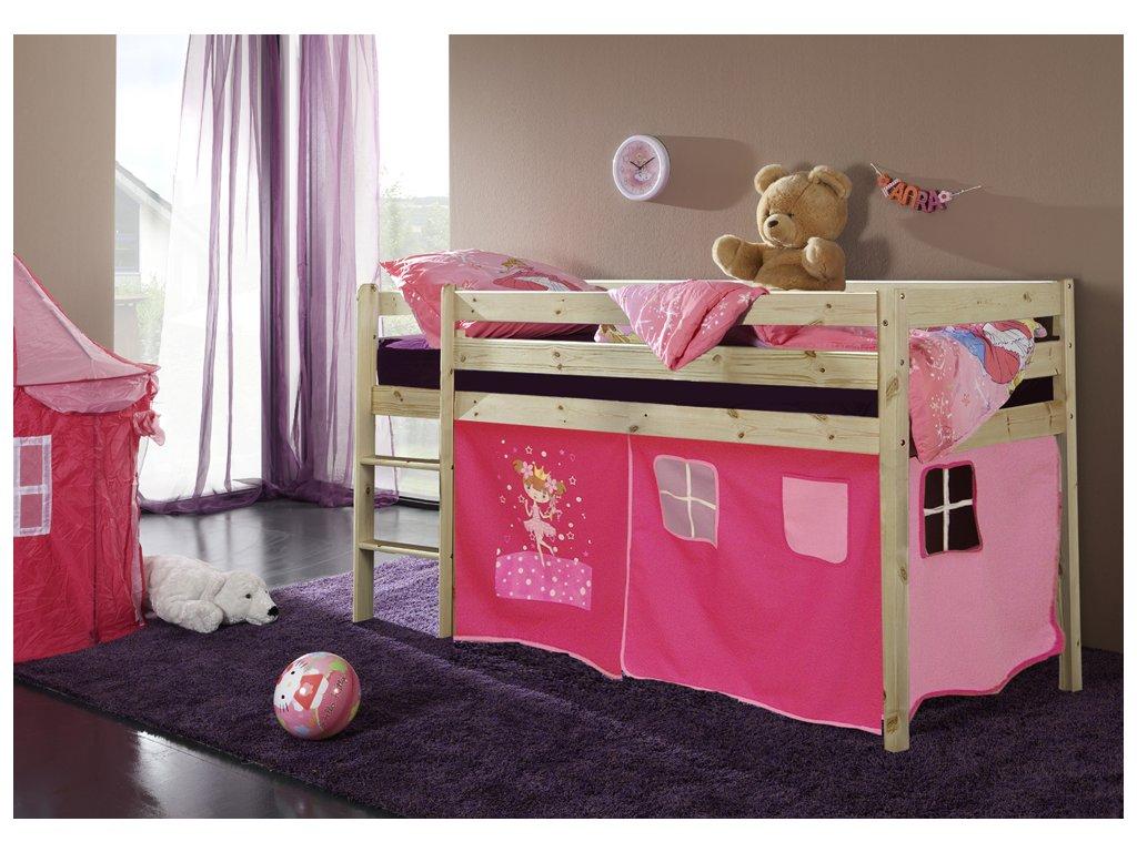 dětská vyvýšená postel palanda přírodní princezna