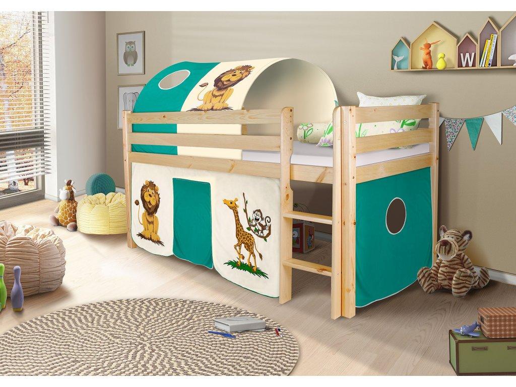 Dětská vyvýšená postel palanda přírodní safari