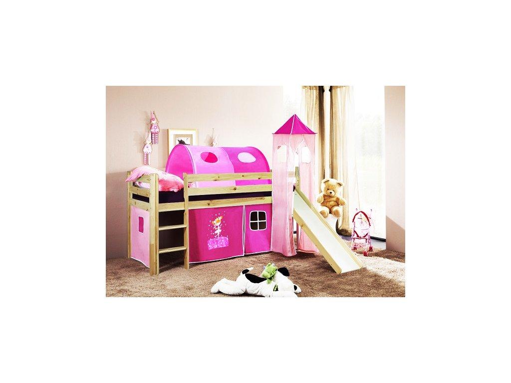 Dětská vyvýšená postel se skluzavkou přírodní princezna