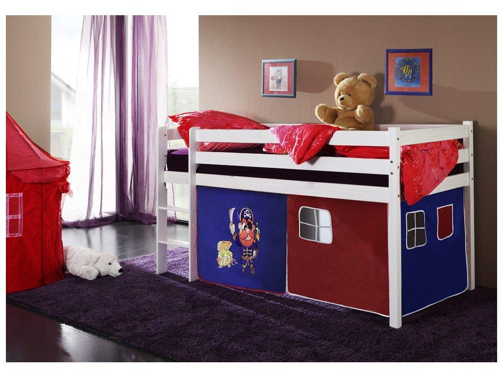 patrová postel vyvýšená postel bílá pirát