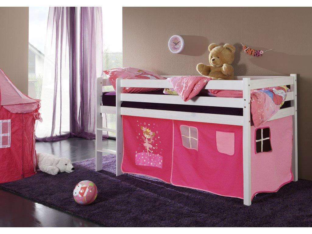 dětská vyvýšená postel patrová postel dětská postel bílá princezna