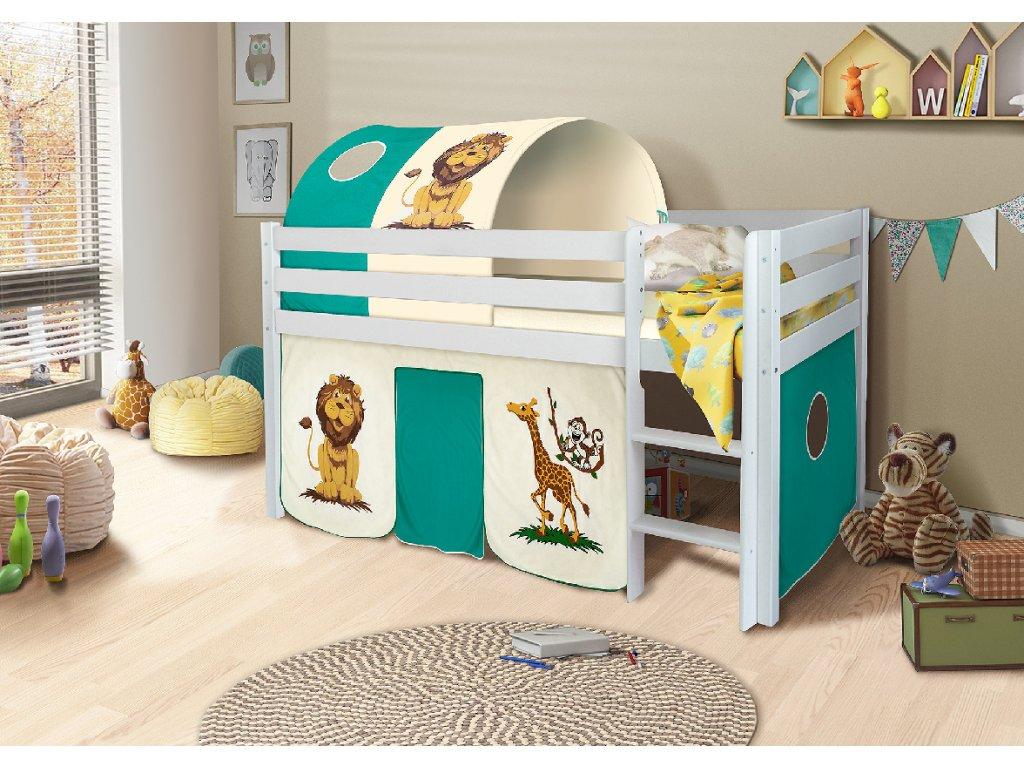 Dětská vyvýšená postel palanda bílá safari