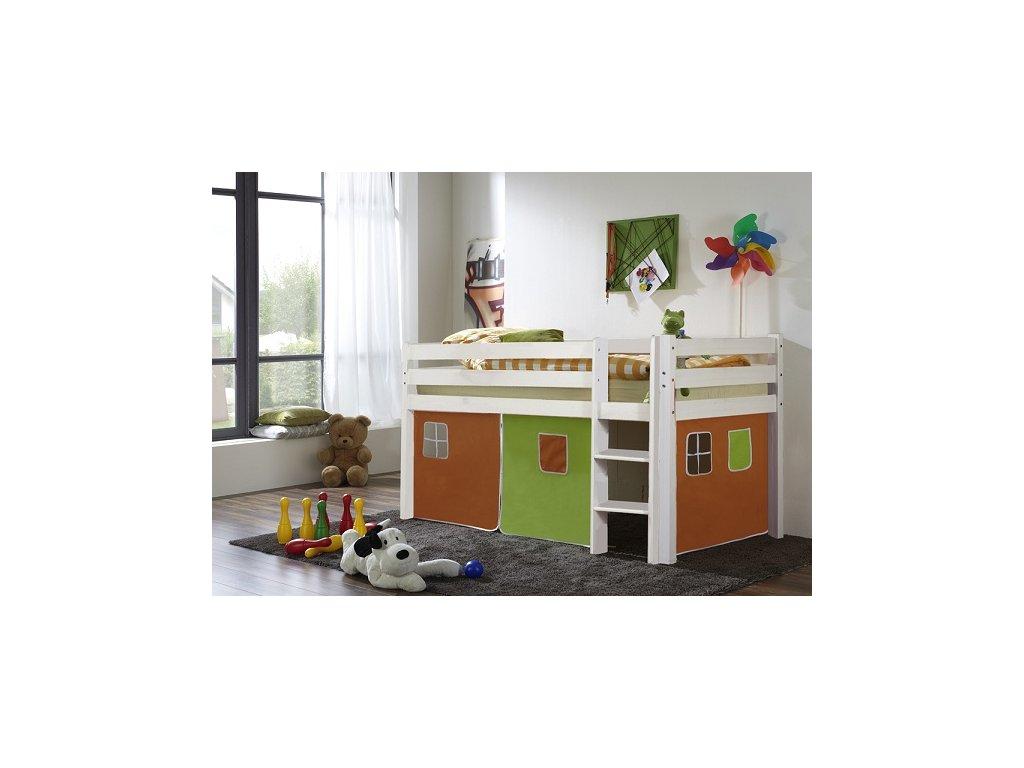 dětská vyvýšená postel patrová postel bílá