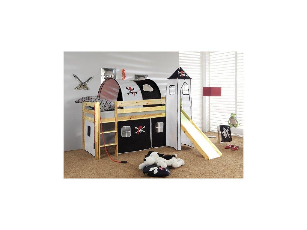 Dětská vyvýšená postel se skluzavkou přírodní pirát
