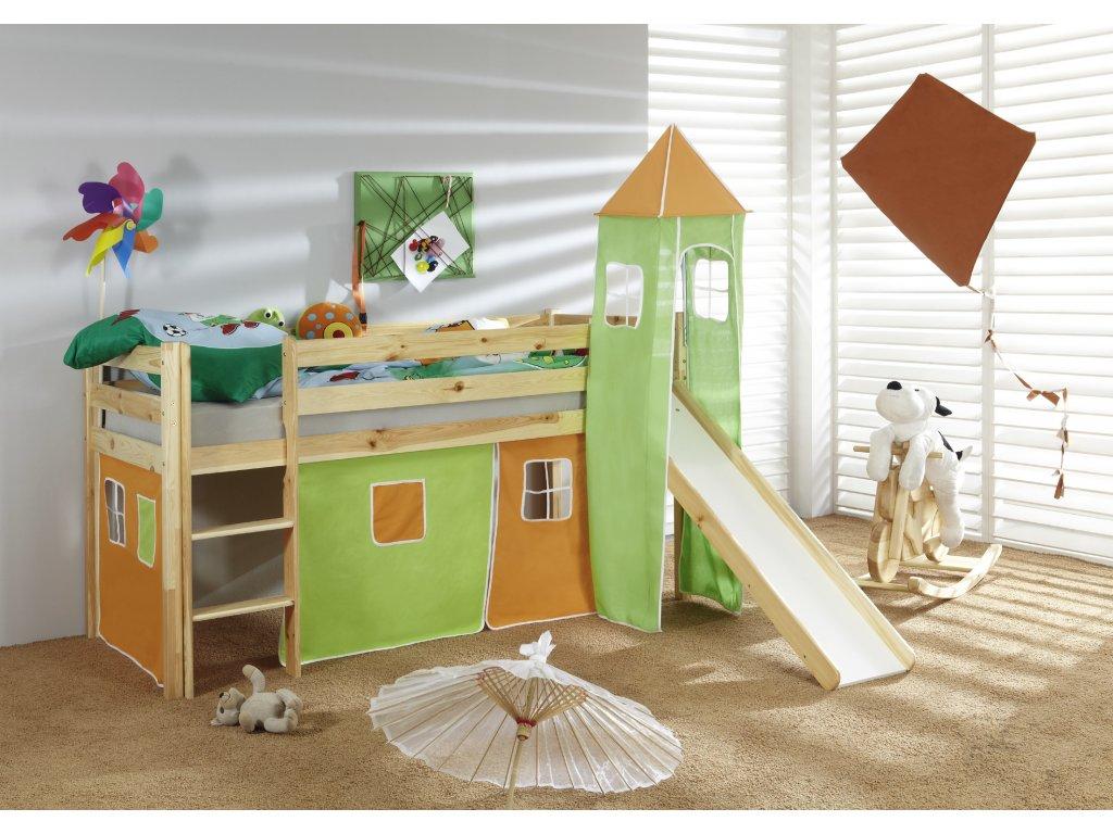 Dětská vyvýšená postel se skluzavkou přírodní