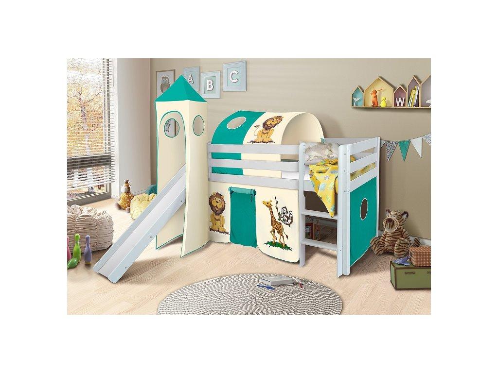 Dětská vyvýšená postel se skluzavkou bílá safari zoo