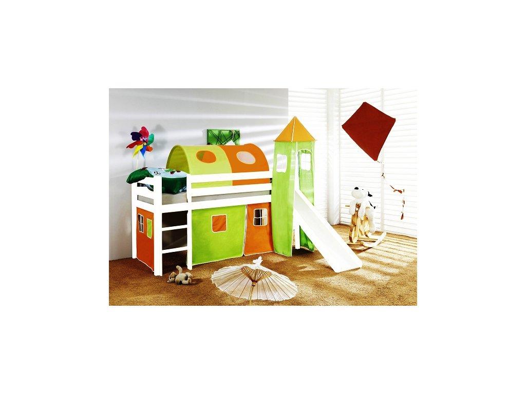 Dětská vyvýšená postel se skluzavkou bílá