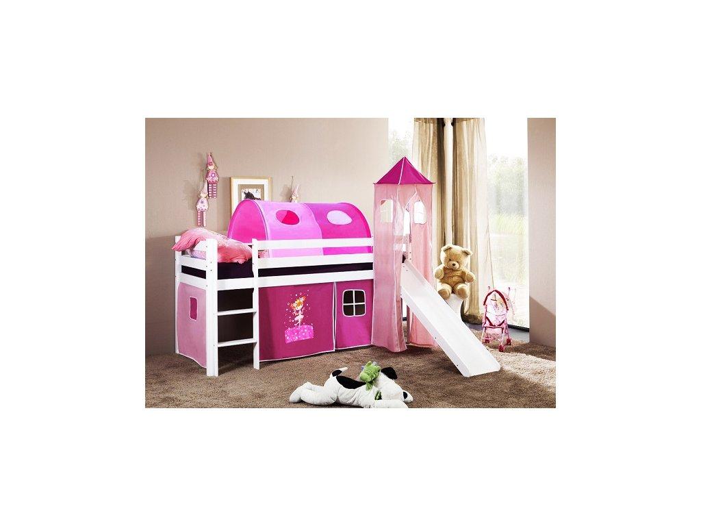 Dětská vyvýšená postel se skluzavkou bílá princezna