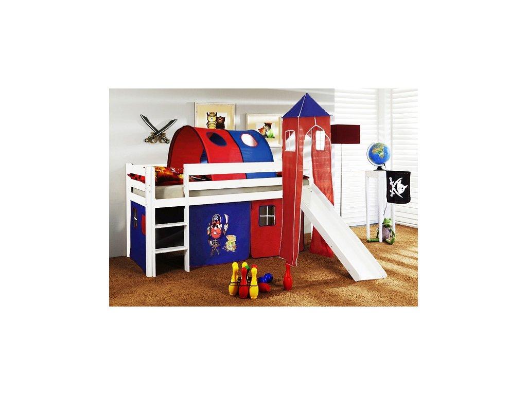 Dětská vyvýšená postel se skluzavkou bílá pirát