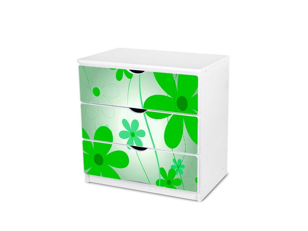 Dětská komoda Adam 2 - zelené květy