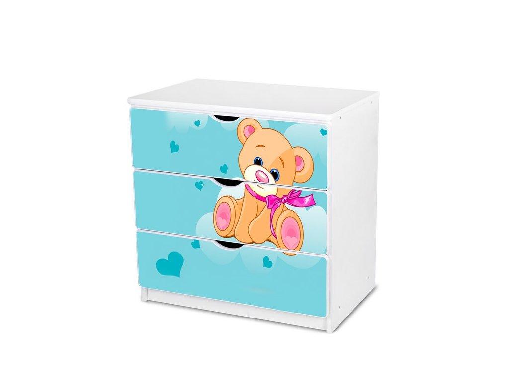 Dětská komoda Adam 7 - modrý medvídek