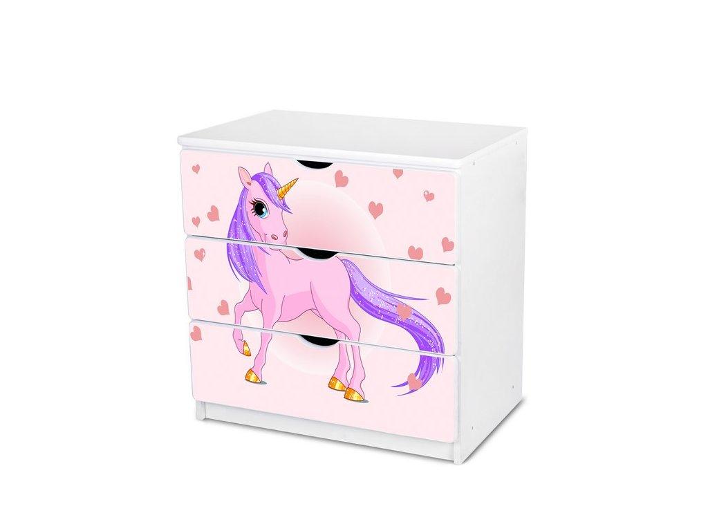 Dětská komoda Adam 10 - růžový jednorožec