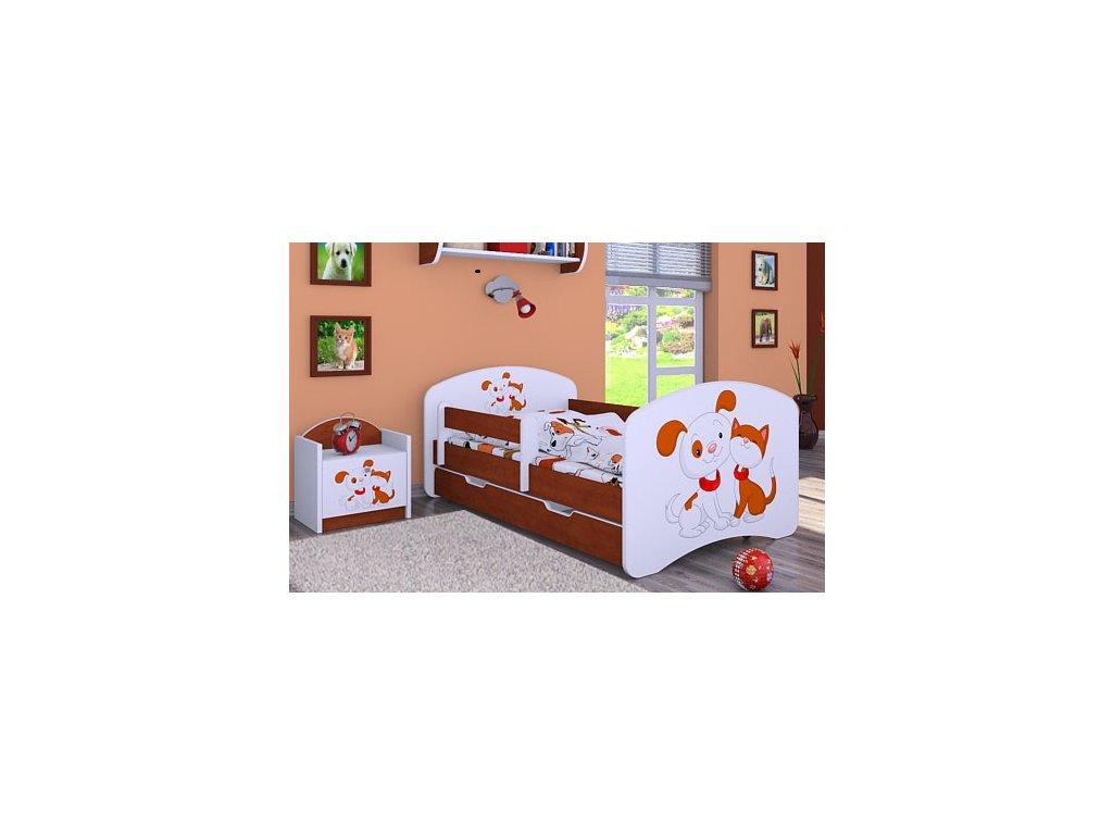 dětská postel s obrázkem pes a kočka