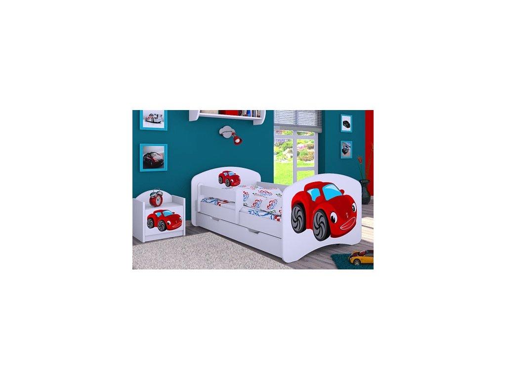 Dětská postel s obrázkem červené auto