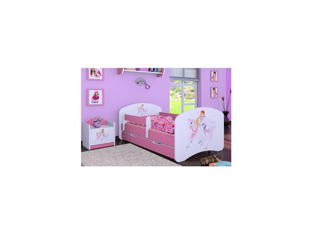dětská postel s obrázkem princ bílý kůň