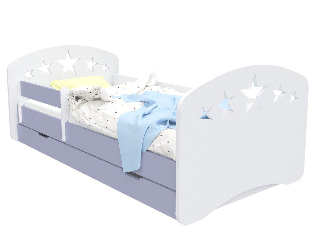 Dětská postel Happy Babies Design hvězdy šedá