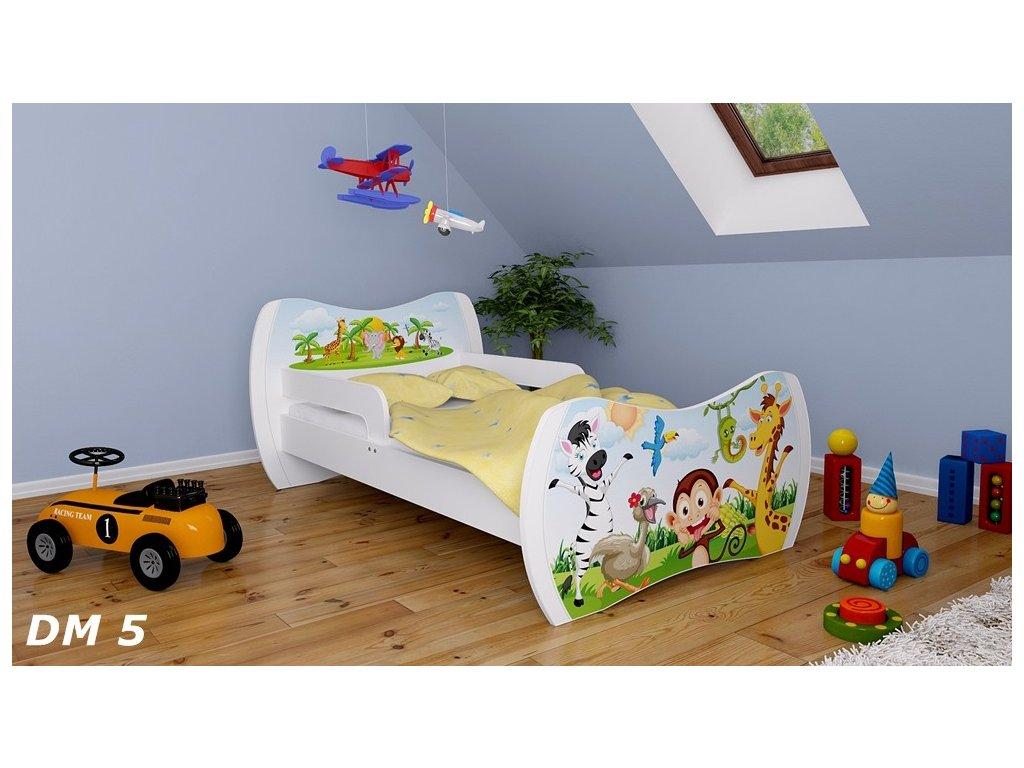 dětská postel s obrázkem zvířátka zoo safari
