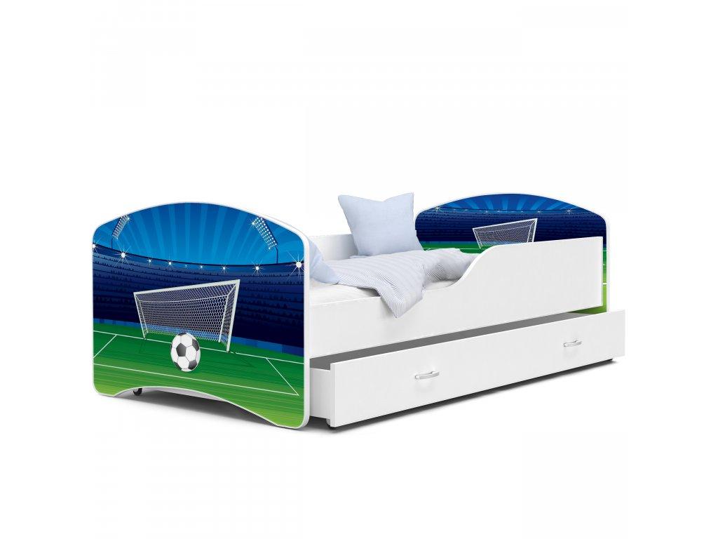 Dětská postel s obrázkem 01 fotbal bílá