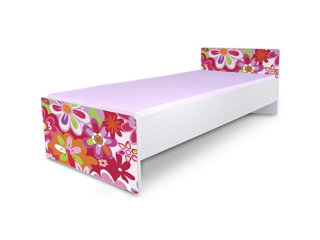 Postel pro mládež Junior 3 - barevné květy 180x80 cm + matrace zdarma