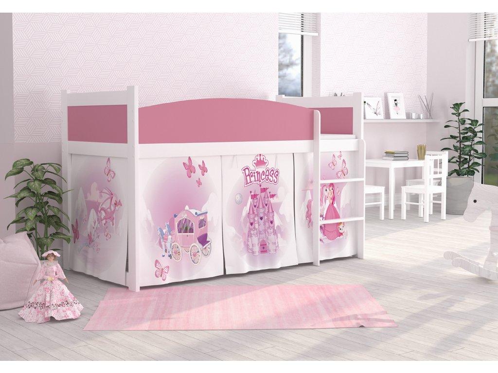 vyvýšená dětská postel princezna zámek bílá růžová