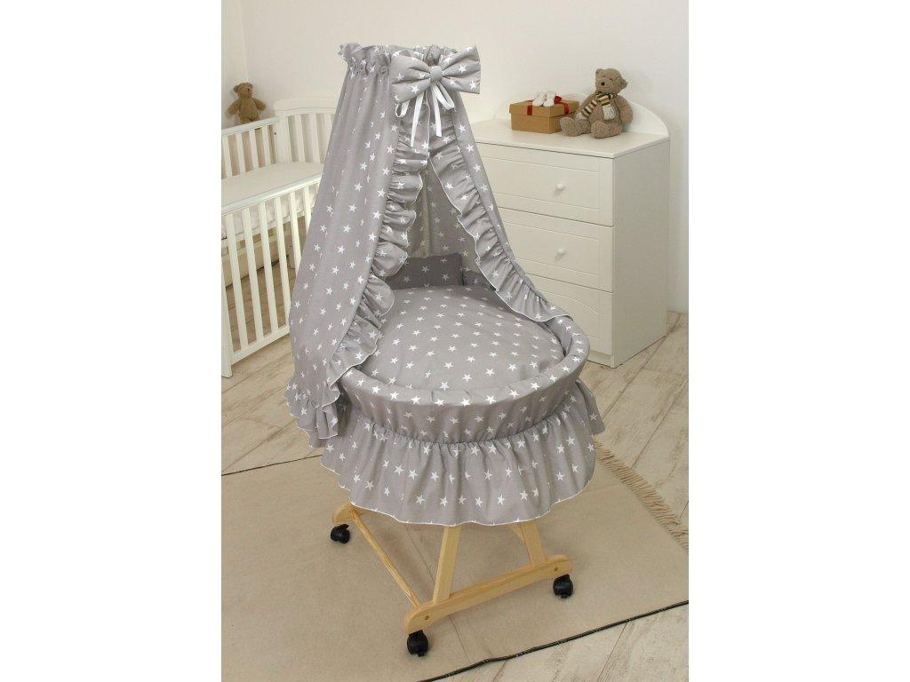 proutěný košík pro miminko hvězdy šedý přírodní 2