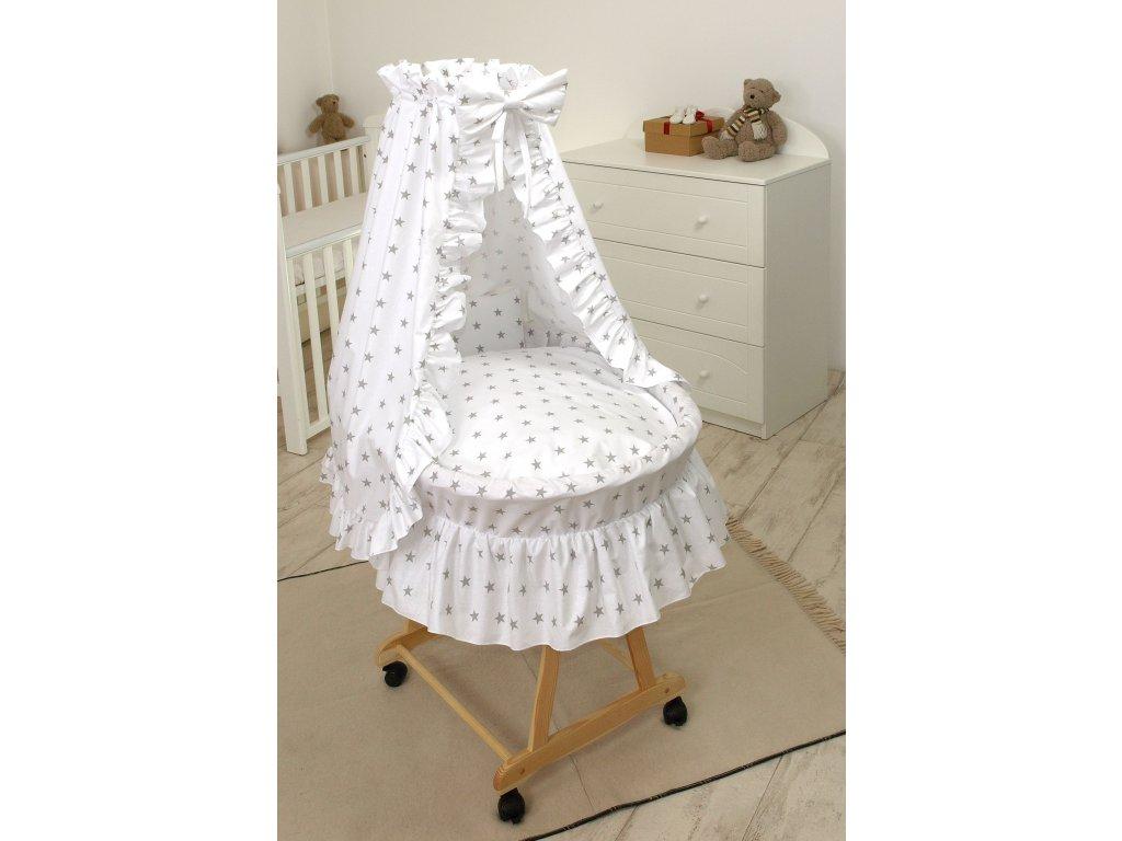 proutěný košík pro miminko hvězdy bílý přírodní 2