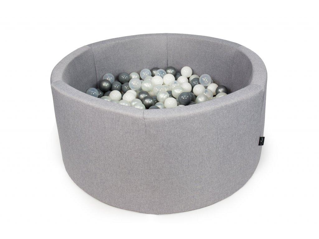 suchý bazén s kuličkami kulatý světle šedý