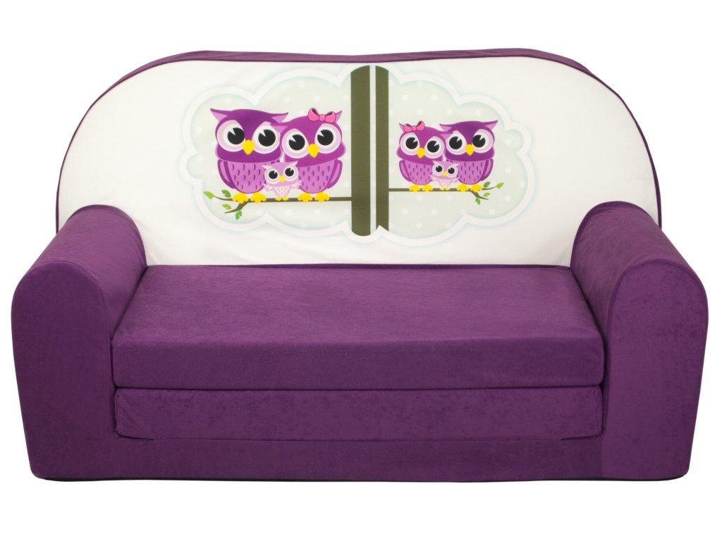 molitanová sedačka fialová sovičky