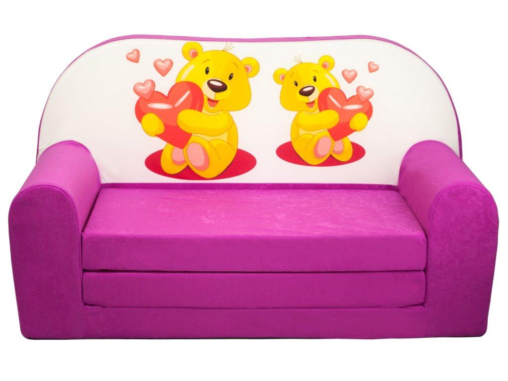molitanová sedačka růžová medvídci srdce