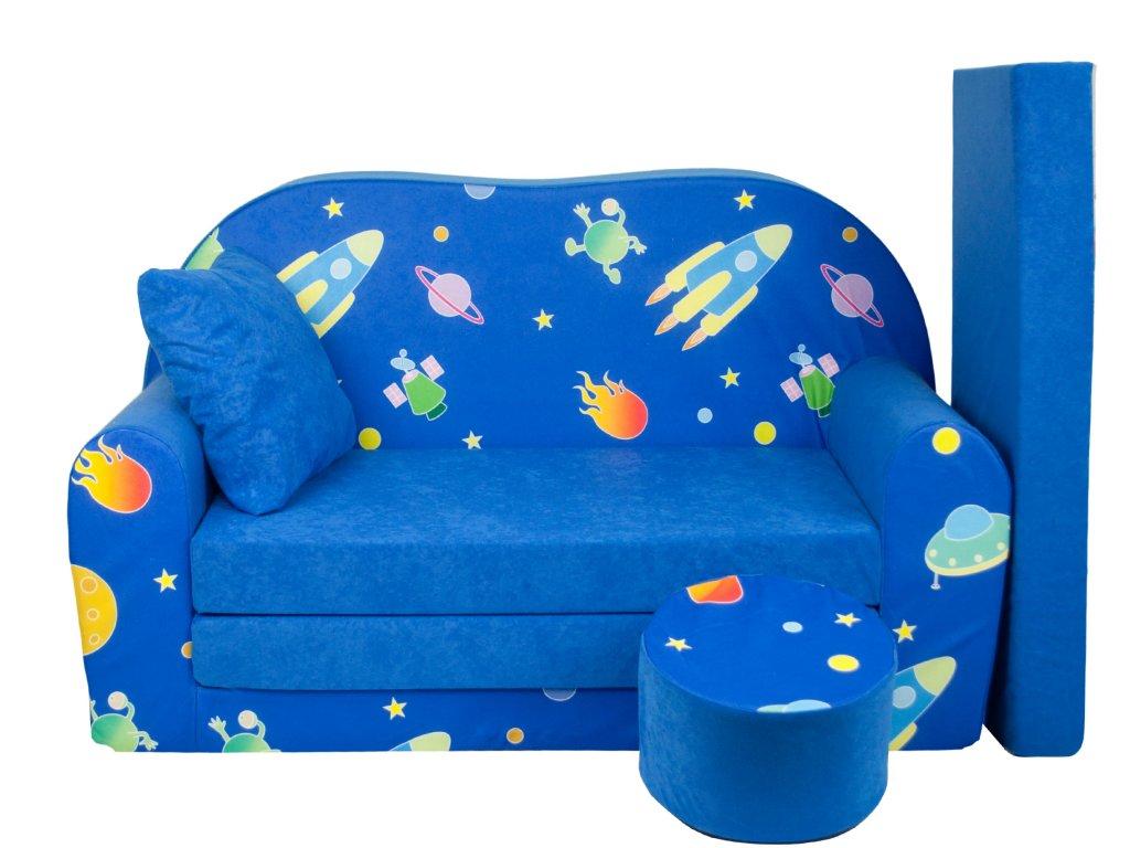 CHKOS molitanová sedačka s bobkem modrá vesmír